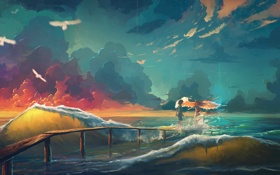 Обои облака, небо, девушка, волны, птицы, море, art