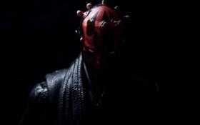 Обои глаза, темнота, игрушки, Star Wars, рога, Darth Maul