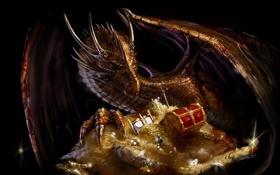Обои золото, дракон, меч, сундук, сокровища, dragon