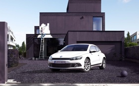 Обои краска, volkswagen, двор, автомобиль, фольксваген