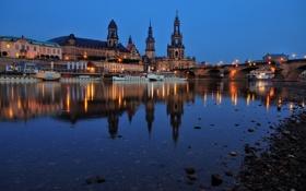 Картинка ночь, мост, огни, отражение, река, здания, Германия