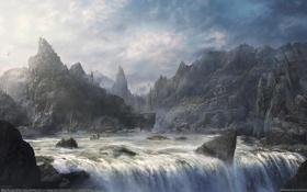 Картинка небо, облака, горы, город, река, скалы, водопад