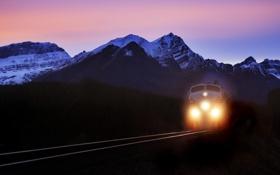 Картинка дорога, горы, ночь, обои, поезд, железная, wallpapers