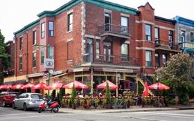 Картинка город, люди, улица, здание, ресторан