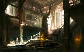 Картинка дом, человек, кресло, лестница, статуя, обстановка, Uncharted 3