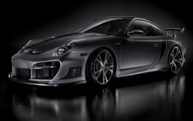 Обои серый, фон, Porsche, спойлер, диски, super