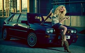 Картинка машина, авто, модель, сапоги, Siobhan Walker, Lancia Delta Integrale