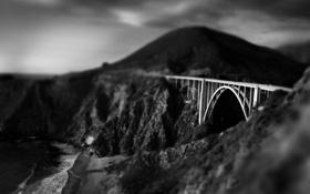 Обои обработка, фото, арт, чёрно-белое, горы, мост, изображение