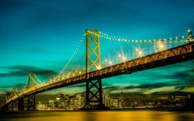 Картинка Калифорния, небо, Сан-Франциско, вечер, Соединенные Штаты, Bay Bridge, огни