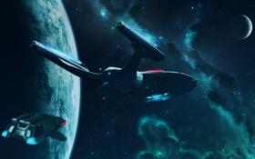 Обои космос, enterprise, шаттл, runabout, планеты, star trek