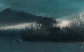 Картинка деревья, природа, туман, озеро, гора, холм, арт