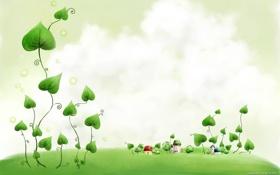 Обои домики, листья, трава