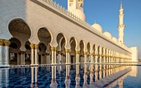 Обои архитектура, ОАЭ, Абу-Даби, минарет, мечеть шейха Зайда