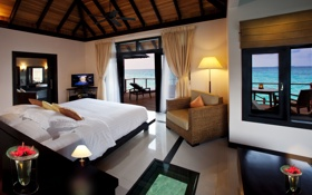 Обои дизайн, жилое пространство, Мальдивы, вилла на воде, интерьер, стиль