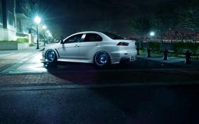 Картинка белый, ночь, город, фонари, Mitsubishi, Lancer, white