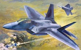 Обои авиация, истребитель, самолёт, raptor, F-22A