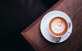 Обои узор, рисунок, кофе, ложка, капучино, блюдце
