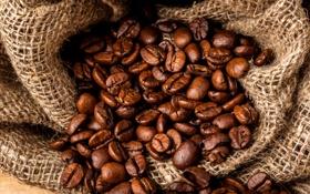 Обои кофе, зерна, мешок, коричневые