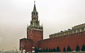 Обои красная площадь, часы, Москва, кремль, куранты