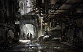 Обои будущее, люди, улица, арт