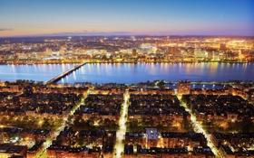 Обои небо, Массачусетс, Prudential Center, вечер, Соединенные Штаты, Charles River, огни