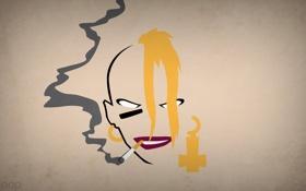 Обои девушка, минимализм, сигарета, blo0p, tankgirl