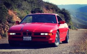 Обои Дорога, Горы, Красная, BMW, БМВ, Red, E31
