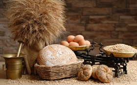 Обои весы, мука, ступка, зерно, булочки, хлеб, яйца
