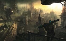 Картинка машины, город, оружие, армия, роботы, арт, солдаты