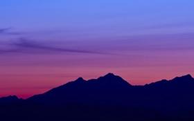 Обои закат, горы, силуэт