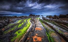 Обои пейзаж, небо, облака, океан, грязь, мох, побережье