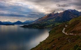 Обои дорога, вода, облака, горы, фотография, пейзажи, картинки