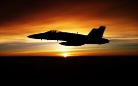 Обои закат, Авиация, FA-18F
