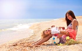 Обои море, пляж, девушка, девочка