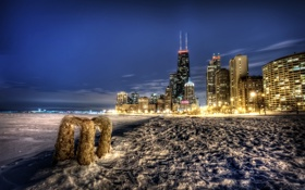 Картинка ночь, город, chicago