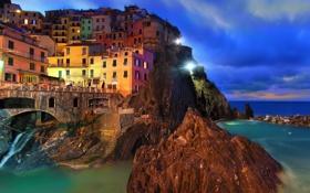 Обои пейзаж, Manarola, скалы, здания, Лигурийское море, Parco nazionale delle Cinque Terre, город