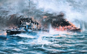 Обои небо, бой, рисунок, Корабль, волны, дым, море