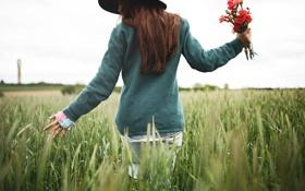 Картинка поле, девушка, цветы, шляпа, рыжая