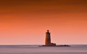Картинка пейзаж, океан, рассвет, маяк