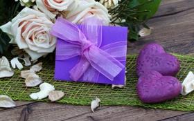 Картинка розы, сердечки, фиолетовые, букет, открытка, лепестки, цветы