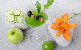 Обои зелень, цветок, лилия, огурец, коктейль, лайм