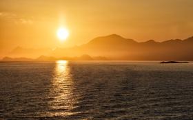 Обои море, горы, утро, силуэт