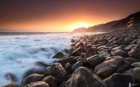 Обои закат, камни, побережье, природа, море