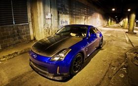 Обои ночь, синий, Nissan, карбон, 350z, тунель