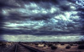 Обои рельсы, пустыня, тучи, дорога