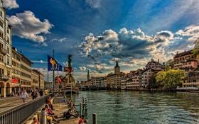 Картинка набережная, здания, Limmat River, Цюрих, Zürich, Switzerland, река Лиммат