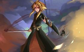 Обои взгляд, девушка, оружие, победа, кровь, меч, парень