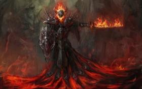 Картинка фантастика, огонь, меч, демон, арт, лава, рога