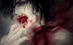 Обои кровь, порез, парень, крик, рана, горло