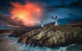 Картинка скалы, море, маяк